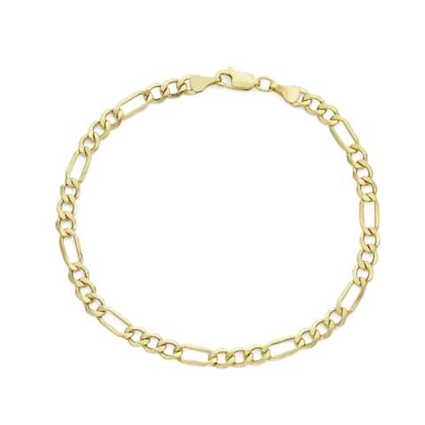 14k gold Men's Figaro Chain 4.65mm Bracelet by Gioelli Designs