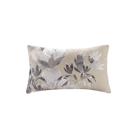 N Natori Odessa Embroidered Cotton Oblong Decorative Pillow