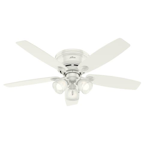 """Hunter 52"""" Low Profile Indoor Ceiling Fan with LED Light Kit and Pull Chain"""