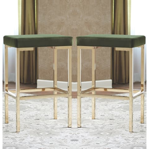 Modern Design Green Velvet and Rose Gold Bar Stools (Set of 2)