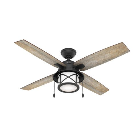 "Hunter 52"" Notia Damp Ceiling Fan with LED Light Kit and Pull Chain"