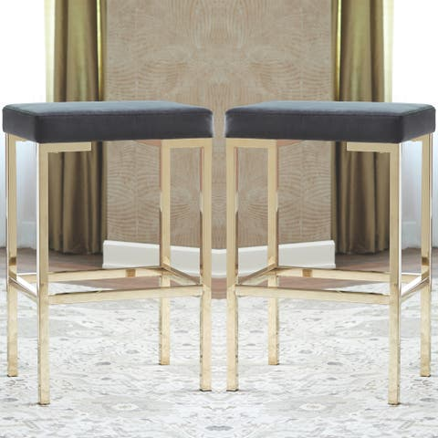 Modern Design Charcoal Velvet and Rose Gold Bar Stools (Set of 2)