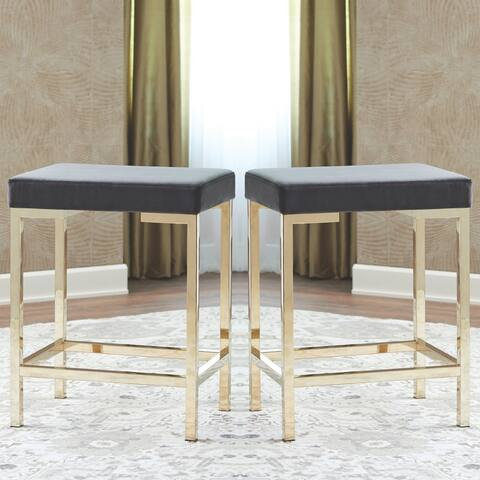 Modern Design Charcoal Velvet and Rose Gold Counter Height Stools (Set of 2)