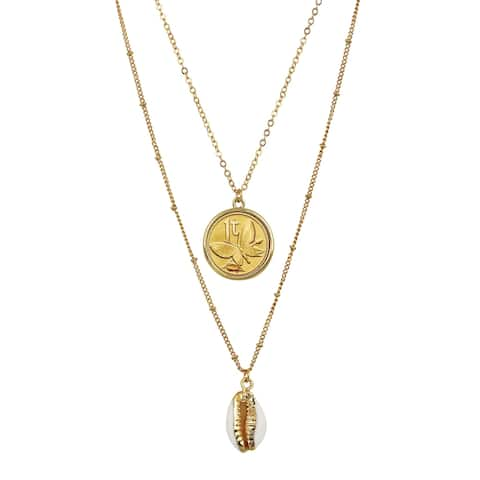 Gold Plated Butterfly Coin with Gold Trimmed Cowrie Shell Double Chain Necklace