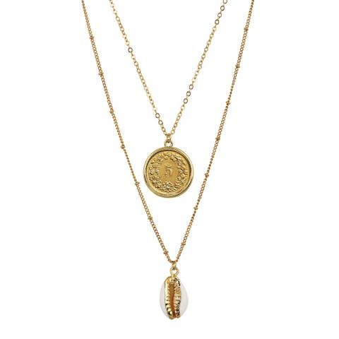 Swiss Coin with Gold Plated Cowrie Shell Double Chain Necklace