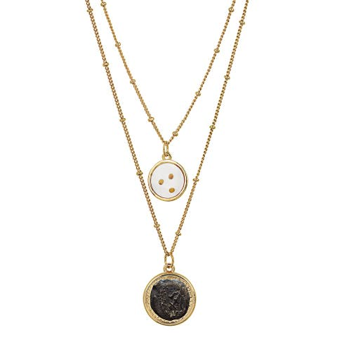 Widow's Mite Coin Pendant with Mustard Seeds Double Chain Necklace