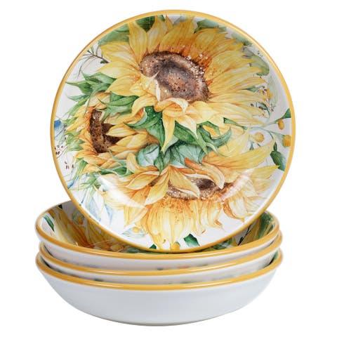 Certified International Sunflower Fields 9-inch Soup/Pasta Bowls (Set of 4)