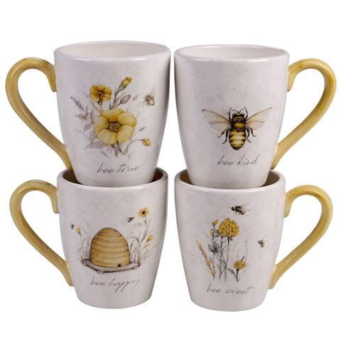 Certified International Bee Sweet 22 oz. Mugs (Set of 4)