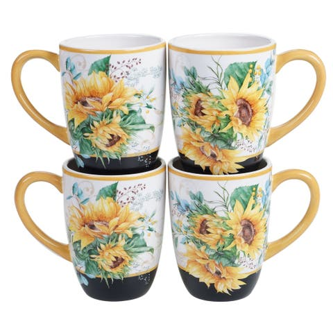 Certified International Sunflower Fields 18 oz. Mugs (Set of 4)
