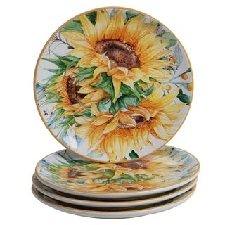 Certified International Sunflower Fields 9-inch Salad/Dessert Plates (Set of 4)