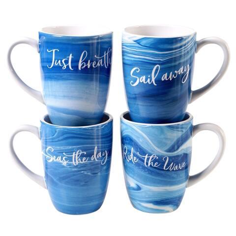 Certified International Fluidity 20 oz. Mugs (Set of 4)
