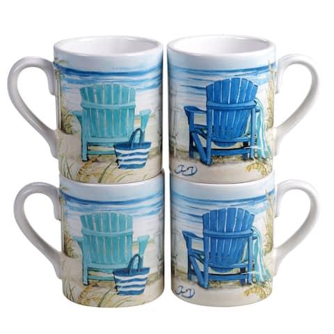 Certified International By the Sea 15 oz. Mugs (Set of 4)