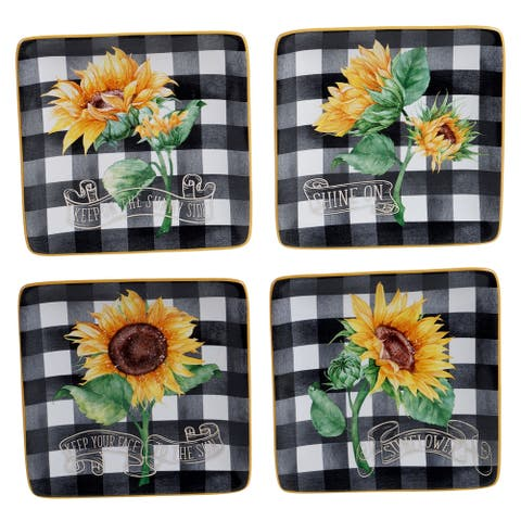 Certified International Sunflower Fields 6-inch Canape/Luncheon Plates (Set of 4)