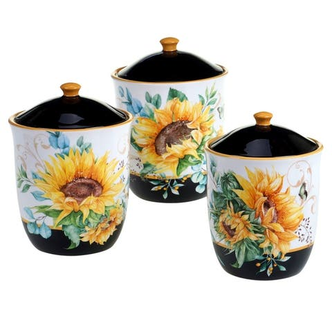 Certified International Sunflower Fields 3-piece Canister Set