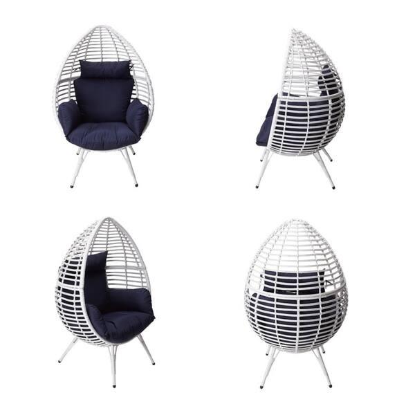 Peaktop Patio Wicker Egg Chair White Overstock 30881157