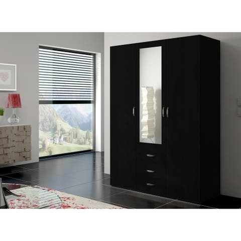 Copper Grove Oldroad 59-inch Black Wood and Glass Armoire