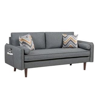 Carson Carrington Lugnas Mid-century Modern Grey Linen Sofa Couch