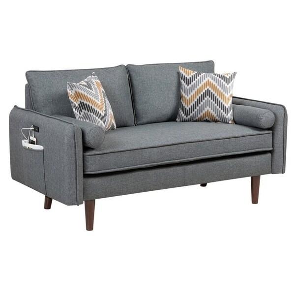 Carson Carrington Kampersvik Mid-century Modern Gray Linen Loveseat Couch