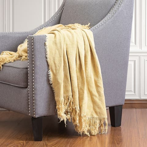 Farm House Washed Linen Throw Blanket