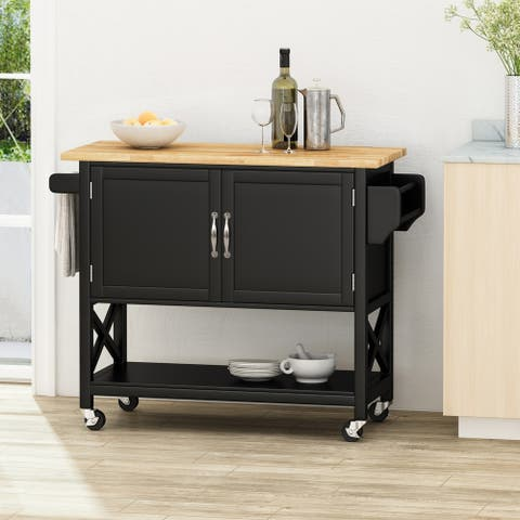 "Finzer Farmhouse Kitchen Cart with Wheels by Christopher Knight Home - 43.12"" W x 17.25"" L x 35.25"" H"