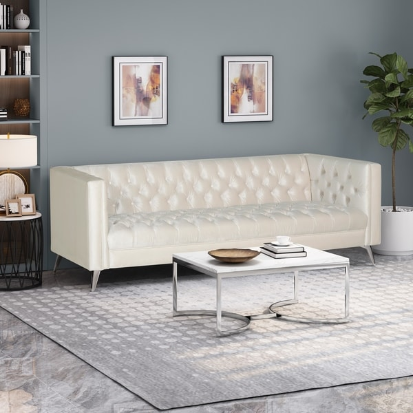 """Galvin Contemporary Tufted Velvet 3 Seater Sofa by Christopher Knight Home - 88.00"""" W x 32.00"""" L x 30.00"""" H. Opens flyout."""