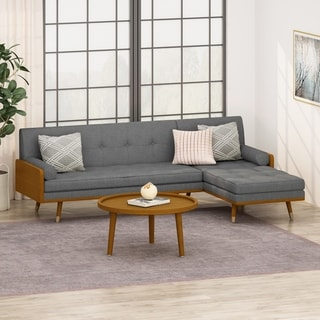 Fluhr Mid-Century Modern Fabric Chaise Sectional by Christopher Knight Home