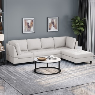 Link to Findon Contemporary 4-seater Fabric Sectional by Christopher Knight Home Similar Items in Living Room Furniture