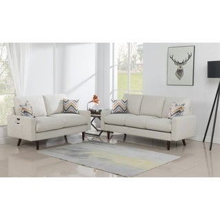 Link to Carson Carrington Ludviki Beige Woven Fabric Sofa and Loveseat Similar Items in Living Room Furniture