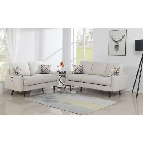 Carson Carrington Ludviki Beige Woven Fabric Sofa and Loveseat