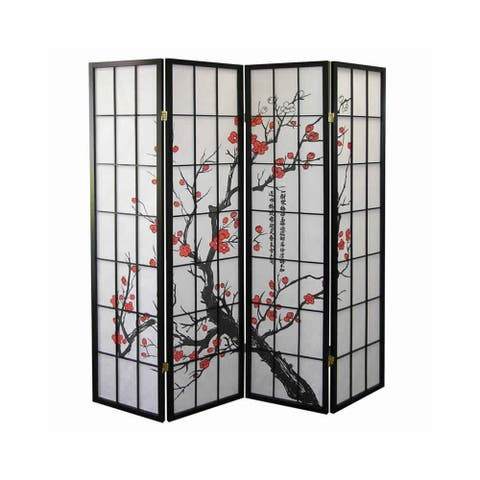 Plum Blossom Print Wood and Paper 4 Panel Room Divider, Red and Black
