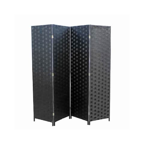 Paper Straw Weave 4 Panel Screen with 2 Inch Wooden Legs, Black