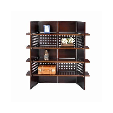 4 Shelf Wooden Bookcase Room Divider with Cutout Design, Brown