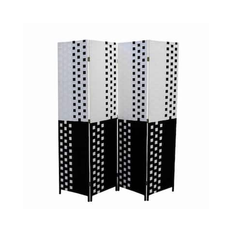 Paper Straw 4 Panel Screen with 2 Inch Wooden Legs, White and Black