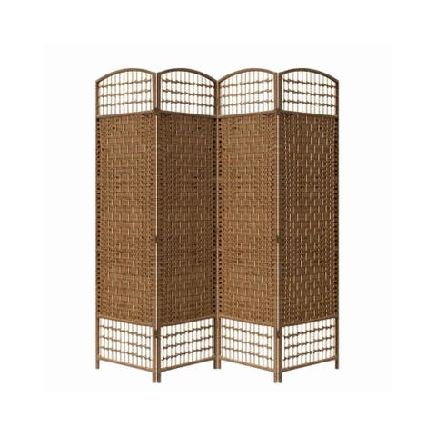 Wood and Paper Straw 4 Panel Screen with Nailhead Trim, Brown
