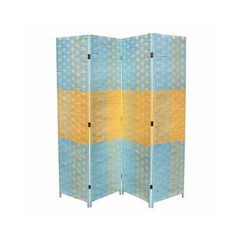 Paper Straw 4 Panel Screen with 2 Inch Wooden Legs, Blue and Yellow