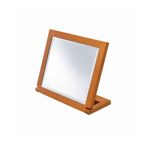 Wooden Rectangular Tilted Bevelled Mirror, Brown and Silver