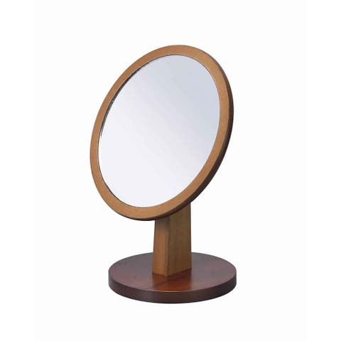 Wooden Makeup Round Mirror with Pedestal Base, Brown and Silver