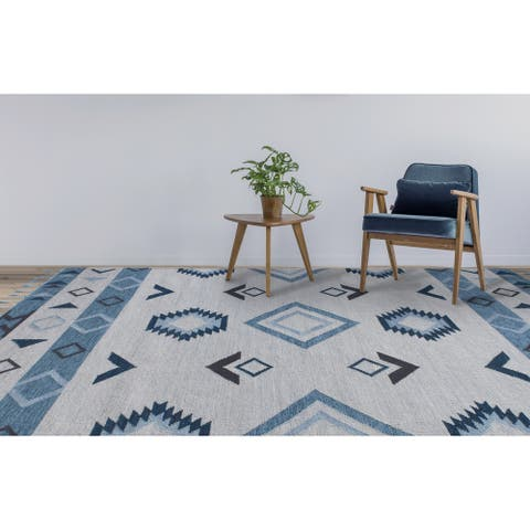 The Curated Nomad Sorrel Tribal Design Flatweave Area Rug