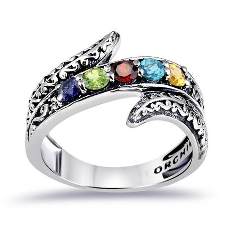 Multi Color Gemstones Sterling Silver Round 5-Stone Rings by Orchid Jewelry