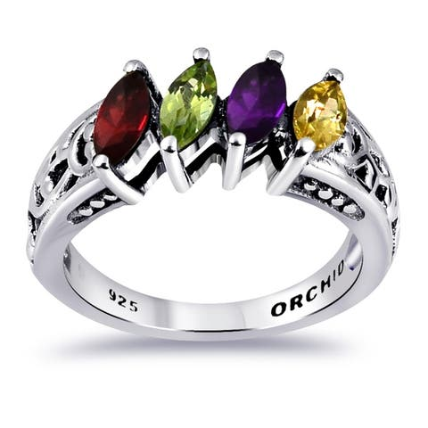 Topaz, Amethyst, Citrine, Garnet, Peridot Sterling Silver Marquise Cocktail Rings by Orchid Jewelry