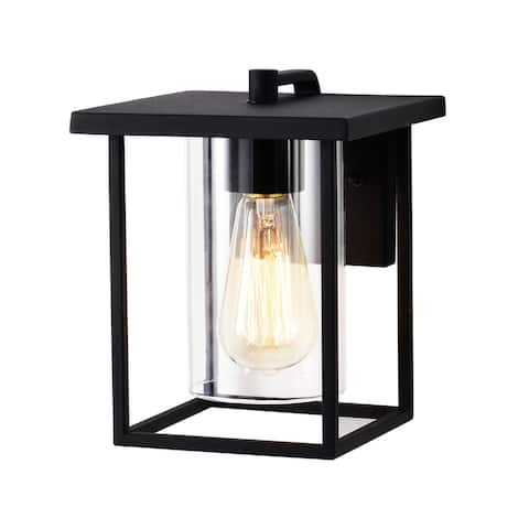 1 Light 7'' Black Painted Metal with Clear Glass Outdoor Wall Sconce