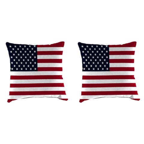 "16"" Set of Toss Pillows in American Flag"