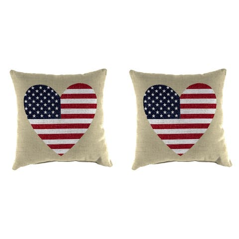 "16"" Set of Toss Pillows in Tan Flag Heart"