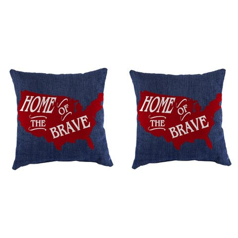 "16"" Set of Toss Pillows in Blue Home of the Brave"