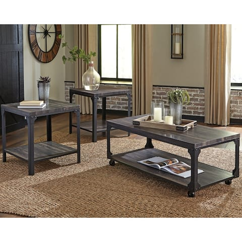 Jandoree Casual Occasional Table Set Set of 3, Brown/Black