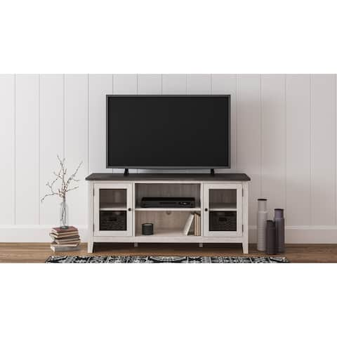 Dorrinson Casual Large TV Stand w/Fireplace Option, White/Brown