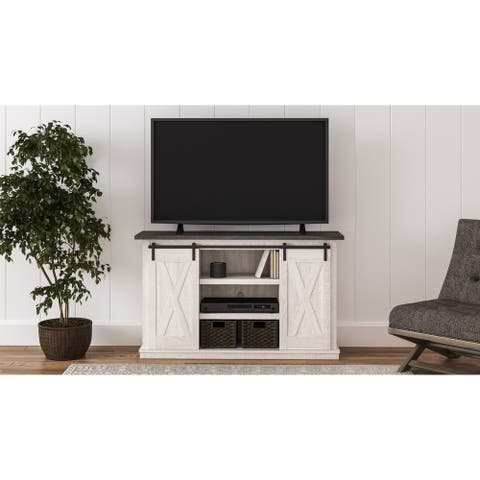 Dorrinson Casual Medium TV Stand, White/Brown