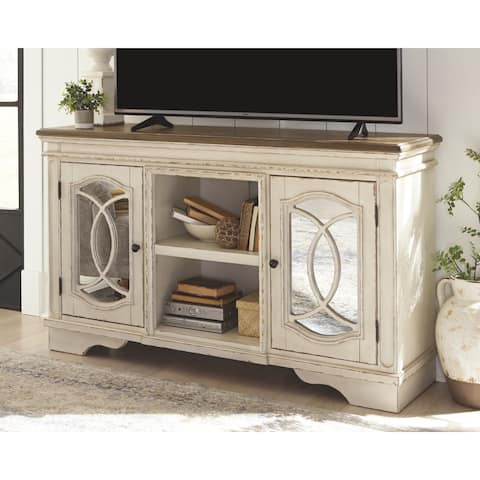 Realyn Casual Large TV Stand, Chipped White