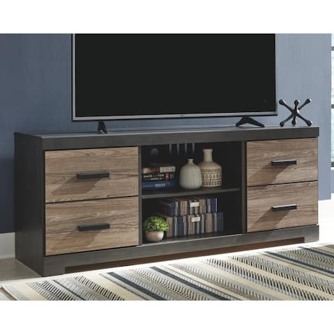 Harlinton Brown Casual Large TV Stand w/ Fireplace Option