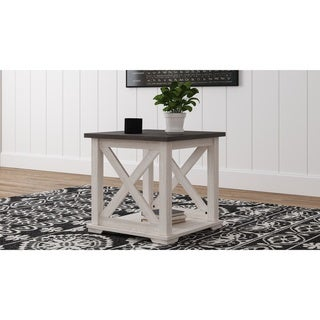 Dorrinson Casual Square End Table, White/Brown